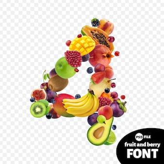 Numero quattro realizzato con frutta
