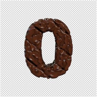 Numero fatto da cioccolato. 3d numero 0