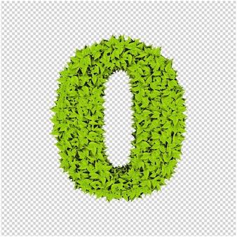 Numero fatto da foglie verdi