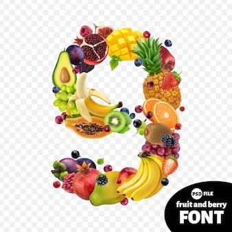 Numero nove realizzato con frutta