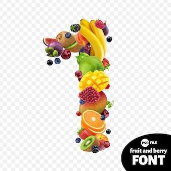 Numero uno realizzato con frutta