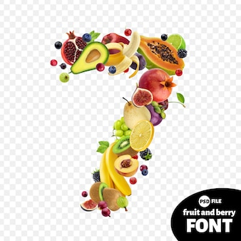 Numero sette realizzato con frutta