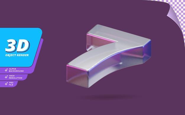Il numero sette, il numero 7 in 3d rende isolato con l'illustrazione astratta di progettazione di struttura di cristallo di vetro metallico