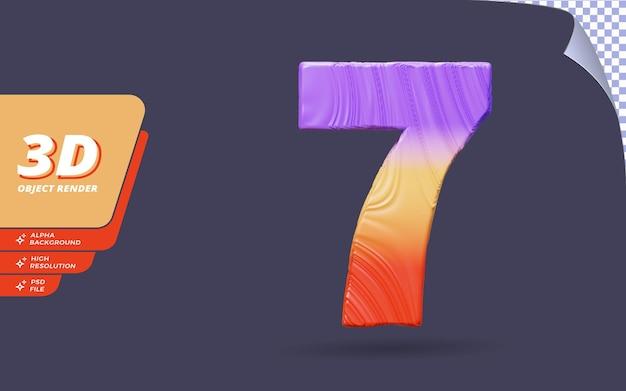 Il numero sette, il numero 7 in 3d rende isolato con l'illustrazione di progettazione di struttura di gradiente topografica astratta