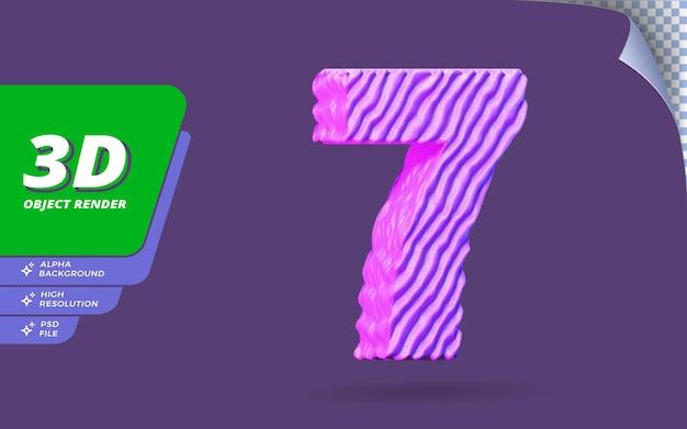 Il numero sette, il numero 7 in 3d rende isolato con l'illustrazione di progettazione di struttura del filo viola topografica astratta