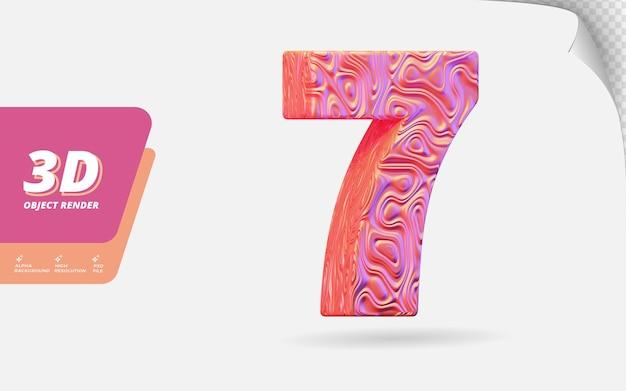 Il numero sette, il numero 7 in 3d rende isolato con l'illustrazione ondulata astratta di progettazione di struttura dell'oro rosa topografico