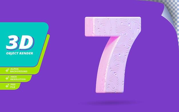 Il numero sette, il numero 7 in 3d rende isolato con l'illustrazione di disegno di struttura ondulata bianca topografica astratta
