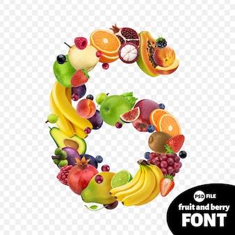 Numero sei realizzato con frutta
