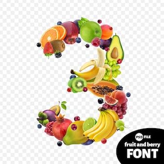 Numero tre realizzato con frutta