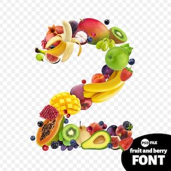 Numero due realizzato con frutta