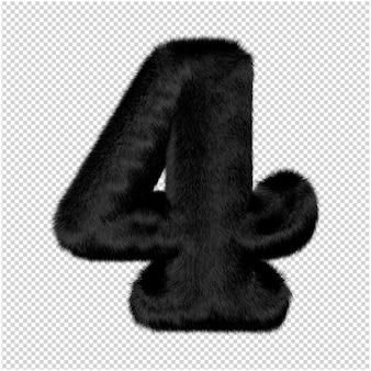 I numeri sono realizzati in pelliccia di visone nero. 3d numero 4