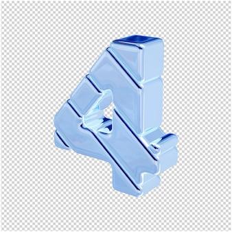 Numeri fatti di ghiaccio blu girati a sinistra. 3d numero 4