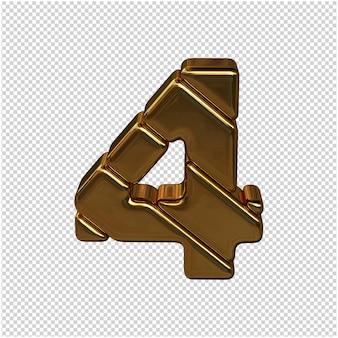 Numeri fatti da lingotti d'oro. 3d numero 4