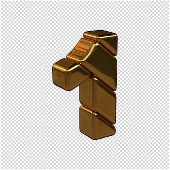 Numeri fatti di lingotti d'oro rivolti a destra su uno sfondo trasparente. 3d numero 1