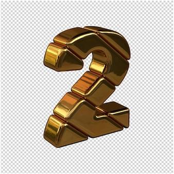 Numeri fatti di lingotti d'oro rivolti a destra su uno sfondo trasparente. 3d numero 2