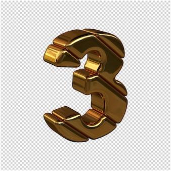 Numeri fatti di lingotti d'oro rivolti a destra su uno sfondo trasparente. 3d numero 3