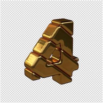 Numeri fatti di lingotti d'oro rivolti a destra su uno sfondo trasparente. 3d numero 4