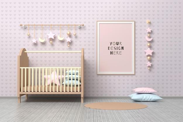 Modello di mockup con cornice a4 per bambini appena nati della scuola materna con culla, cuscini e decorazioni appese.