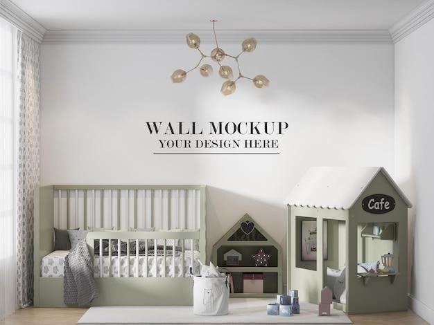 Mockup della parete della stanza della scuola materna in rendering 3d