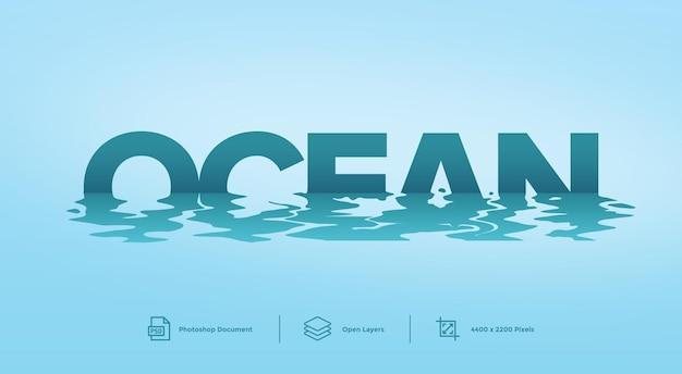Effetto di stile del modello di disegno di effetto di testo dell'oceano