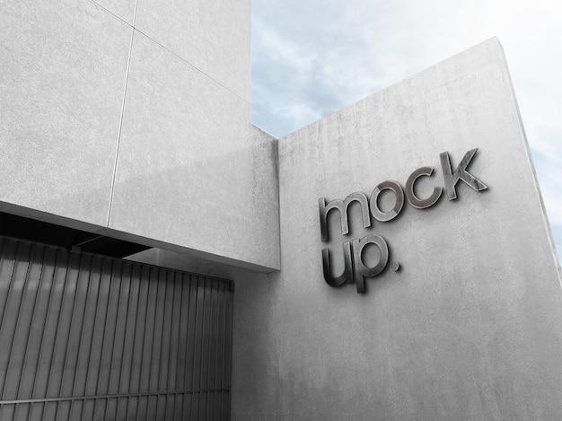 Mockup del logo aziendale del segno del metallo dell'ufficio 3d