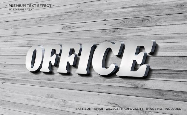 Modello di effetto stile testo 3d per ufficio