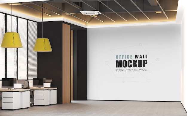 Design per ufficio in mockup di pareti di colori moderni