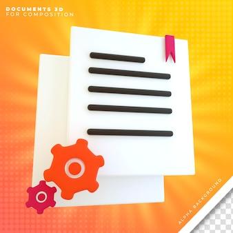 Icona di rendering 3d di documenti per ufficio