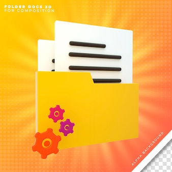 Cartella office con icona documenti 3d