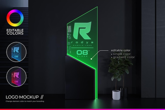 Modello del logo dell'ufficio in stile elegante e futuristico con colore e gradiente modificabili