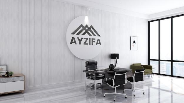 Mockup del logo dell'ufficio con un design elegante