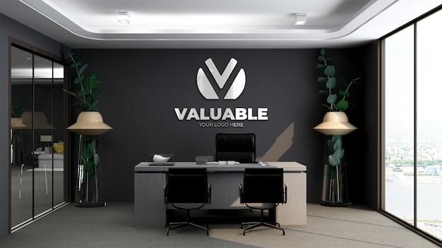 Mockup del logo della parete della stanza del manager dell'ufficio