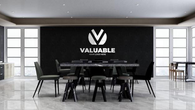 Dispensa dell'ufficio o stanza della cucina per il logo della parete del marchio aziendale mocku