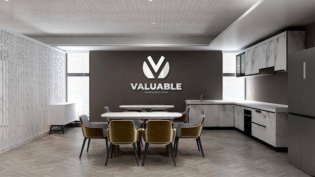 Mockup del logo della parete della stanza della dispensa dell'ufficio per il branding