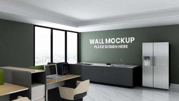 Mockup della parete della stanza della dispensa dell'ufficio