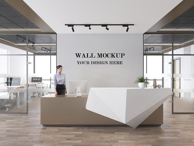 Mockup di parete dell'area reception dell'ufficio