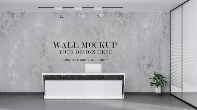 Mockup della parete posteriore della reception dell'ufficio