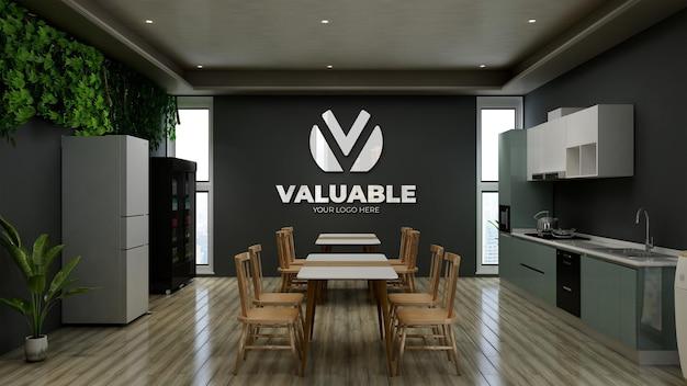 Ufficio ristorante o parete della dispensa logo 3d mockup