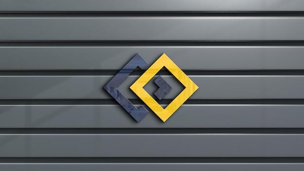 Progettazione di mockup del logo 3d della parete dell'ufficio
