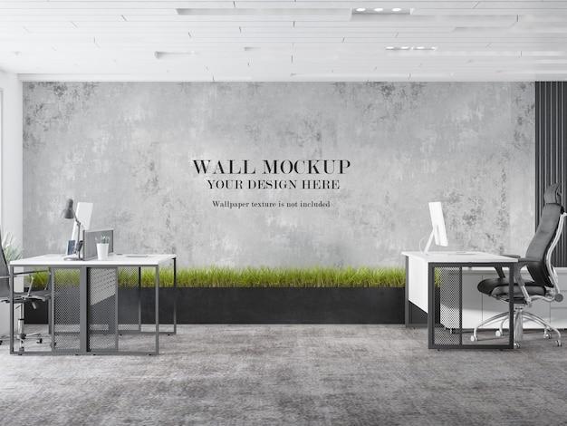 Progettazione di design mockup parete area di lavoro ufficio
