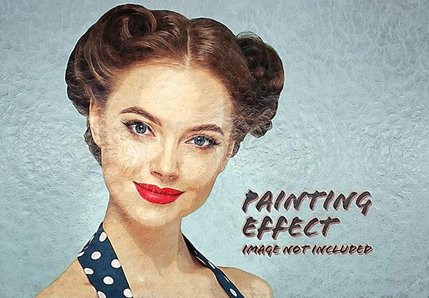 Effetto foto pittura a olio su muro rotto mockup