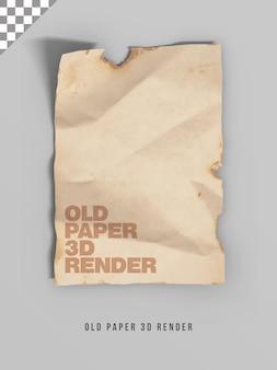 Rendering 3d di carta vecchia
