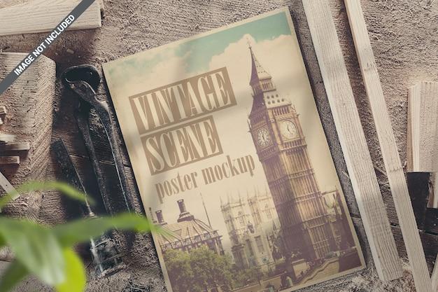 Mockup di scena vecchio poster