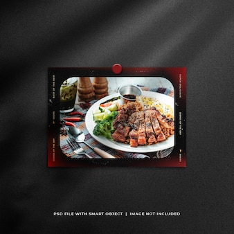 Old vintage landscape polaroid food photo mockup con effetto perdite di luce