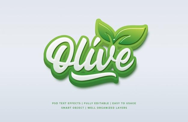 Effetto di testo 3d in stile oliva naturale premium psd