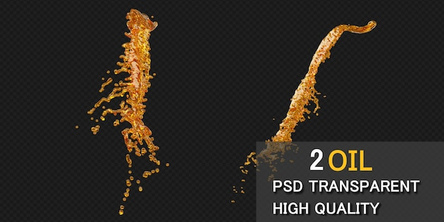 Spruzzata di olio d'oliva con goccioline. illustrazione 3d.