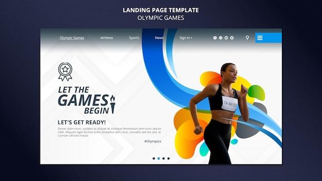 Pagina di destinazione dei giochi olimpici con foto