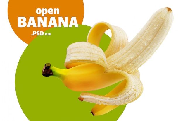 Una banana sbucciata aperta isolata su bianco