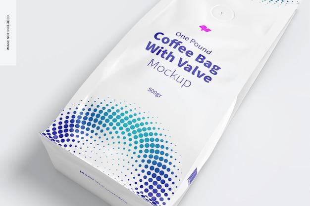 Sacchetto di caffè da una libbra con valvola mockup, da vicino