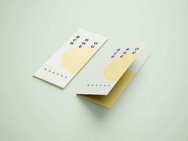 Mockup di brochure a quattro pieghe laterale